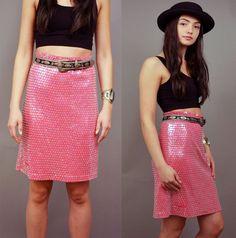 VENTE ! Vintage années 80 MAGENTA SEQUINS roses vives perles crayon Slim nouvelle vague pin-up de 1980 jupe M