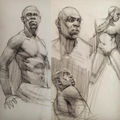 Kevin Wueste.  Quick figure drawings and demos of an excellent model! From 5-20 minutes. #allaprima #artmodel #figuredrawing #figure #charcoaldrawing #drawing…