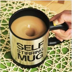 Self Stirring Mug Cup...I know someone who could use this