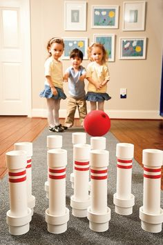This would be ideal in alond hallway  Kids bowling set made with PVC