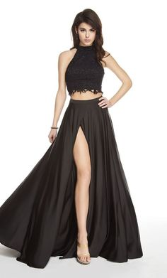 Alyce Paris 60601 black prom dress features a beaded lace crop top over a satin skirt, detailed with a high neckline, frilled midriff, and strappy back. This 2 piece evening gown is completed with a thigh-high slit on the full-length skirt. Two Piece Gown, 2 Piece Prom Dress, Prom Dress Stores, Designer Prom Dresses, Perfect Prom Dress, Lace Crop Tops, Dresses For Sale, Fashion Dresses, Satin Skirt