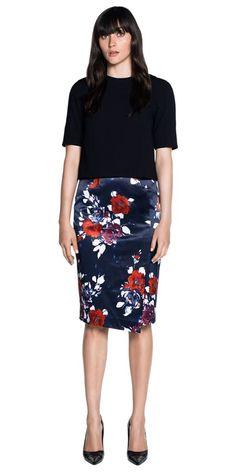 Skirts | Floral Satin Asymmetric Pencil Skirt