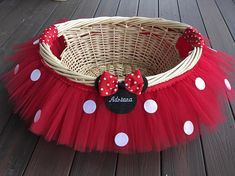Large Red Minnie Mouse Theme Tutu Basket with up to 8 letter embroidery name, Birthday Tutu Gift Basket, Baby Shower Basket, Tutu Easter Minnie Mouse Theme, Mickey Mouse Clubhouse Birthday, Mickey Y Minnie, Mickey Mouse Birthday, Birthday Tutu, Theme Mickey, Mickey Party, Baby Shower Food For Girl, Decoration Evenementielle