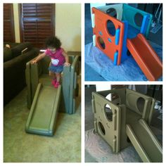 Spray painted an old little tikes climbing slide in oregano color so it blends in with my house. My toddler loves it & keeps her active inside without making my house look like a daycare! Got it at a garage sale for $10.