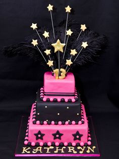 13th Birthday Cake - Black background by Not Just Cakes, via Flickr