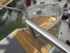 Stainless and timber spiral staircase