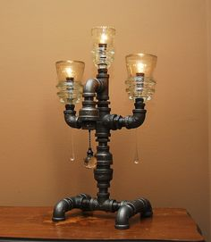 Industrial Style Pipe Lamp with 3 Glass Insulators and Pull Chain Switch Pipe Lighting, Industrial Lighting, Industrial Style, Vintage Industrial, Insulator Lights, Glass Insulators, Pipe Furniture, Industrial Furniture, Furniture Design