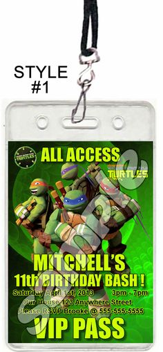 Teenage Mutant Ninja Turtles Set of 12 VIP Party Invitation Passes or Party Favors by reelpartyinvitations 4 Ninja Turtles, Ninja Turtle Birthday, Ninja Turtle Party, Teenage Mutant Ninja Turtles, Teenage Turtles, Pizza Party Birthday, Birthday Ideas, Birthday Parties, 9th Birthday