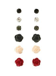 LOVEsick Stone Rose Earring 6 Pair