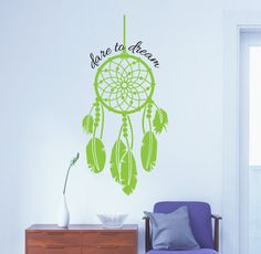 Dare to Dream - Dream Catcher Vinyl Decal (Interior & Exterior Available) Dream Catcher Sticker, Feather Vinyl Sticker, Large Vinyl Wall