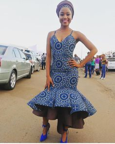 Shweshwe dresses are the most beautiful choice for South African wedding ceremonies.Shweshwe has become a staple for South African woman who uses the fabric African Print Dresses, African Fashion Dresses, African Dress, African Prints, Ankara Fashion, Ankara Dress, African Attire, African Wear, African Women