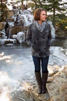 Winter basics, plaid peacoat, infinity scarf from a pashmina