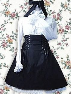 Black And White Lolita Blouse And Skirt