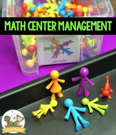 Math Center Management. How to implement and manage math centers in your pre-k, preschool, Head Start, or kindergarten classroom. Tips, ideas, and photos from my classroom Montessori Elementary, Montessori Preschool, Preschool Education, Kids Learning Activities, Early Education, Kindergarten Classroom, Teaching Math, Preschool Centers, Math Centers