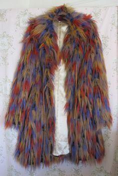 Rare! Vtg *70s GLAM* Rock Boho Feather Yeti Mongolian Leather Tassel Fur Coat
