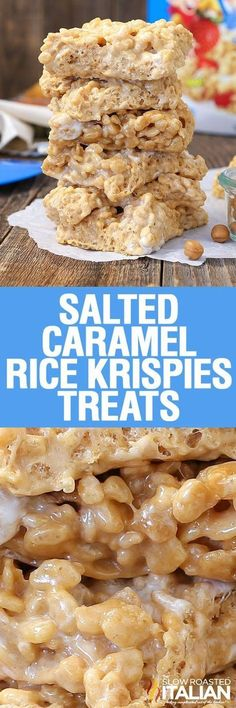 Salted Caramel Rice Krispies Treats are light and airy with a soft and chewy texture and the perfect amount of crunch. Bring these to your next summer potluck! #theslowroasteditalian #tsri #RiceKrispeeTreats #saltedcaramelrecipes #potluckfood