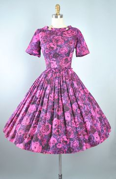 Vintage 50s ROSE Print Dress / 1950s Cotton Sundress Purple Pink CABBAGE Floral ROSES Watercolor Full Swing Skirt Garden Party Pinup Medium by GeronimoVintage on Etsy