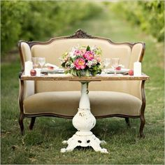 Peach + Lace Vintage Wedding Inspiration at Gilcrease Orchard is part of Orchard wedding - Vintage wedding style at Las Vegas's Gilcrease Orchard, inspired by peach and lace Photographs by Kristen Joy Photography Vintage Table Decorations, Table Vintage, Decoration Table, Wedding Decorations, Vintage Settee, Furniture Vintage, Urban Furniture, Farmhouse Furniture, Metal Furniture