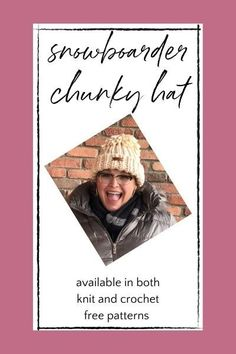 Snowboarder Chunky Hat Free Knit and Crochet Patterns