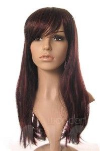 chocolate brown hair with cherry red low lights   ... co uk this stunning rich dark brown wig has a subtle red low lights