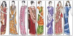 saree draping styles: From left to right: Bengali style (Devdas Style), Maharani style (worn by royalty), North Pride drape, Indo western style, Western Gujrati style, Most common Northern style, Northern Bridal style, and the Mumtaz style (popularized by actress Mumtaz).