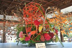 Stunning display by the head of the Sogetsuryu school of #ikebana at Shimogamo Shrine, #Kyoto -- Click to see more images at the Green Shinto blog