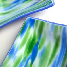 Fused Glass Plates  Meadow Meets the Sky  set by SassyGlassStudio, $70.00