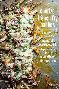 The ultimate nachos! French fries topped with spicy chorizo, caramelized onion, two types of cheese and chipotle crema. These nachos will blow your mind!