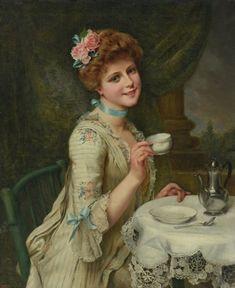 Jeune élégante prenant son thé by François Martin-Kavel