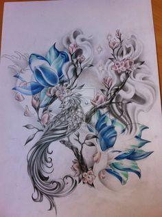 Blue Lotus And Phoenix Tattoo Design . - Blue Lotus And Phoenix Tattoo Design - Cloud Tattoo Design, Lotus Flower Tattoo Design, Feather Tattoo Design, Phoenix Tattoo Design, Lotus Flower Tattoos, Lotus Design, Great Tattoos, Beautiful Tattoos, Body Art Tattoos