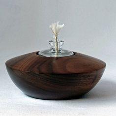 Öllampe Nussbaum, oil lamp walnut