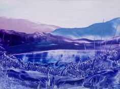 A change to my usual colour palette in this encaustic art landscape