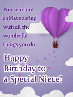 Send Free Soaring Spirits - Happy Birthday Card for Niece to Loved Ones on Birthday & Greeting Cards by Davia. It's free, and you also can use your own customized birthday calendar and birthday reminders. Happy Birthday Niece Messages, Birthday Cards For Niece, Happy Birthday Wishes Cards, Birthday Wishes And Images, Birthday Wishes For Sister, Happy Birthday Beautiful, Happy Birthday Sister, Birthday Verses, Inspirational Birthday Wishes