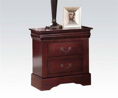Acme Furniture Louis Philippe III Nightstand With Two Drawers, Cherry Finish New