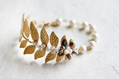 Gold Leaf Bracelet With Pearls Leaf Wedding Bracelet Pearl Leaf Cuff bracelet Pearl Bracelet Leaf Cuff Bracelet