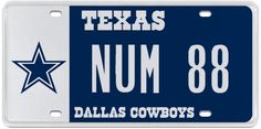 This Dallas Cowboys license plate with NUM 88 is perfect for the Dez Bryant fan and is currently available.  Order now starting at $85 per year.  (The best deals are purchasing for five or ten years!) http://myplates.com/Owner/Create/PLPA173?plateText=NUM%2088