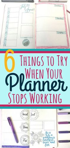 6 techniques to try out when you're planner or bullet journal stops working the way you want it to! Helps promote realistic thinking and time management skills to help maintain planner organization. Good advice and great for beginner and advanced planners Bullet Journal Tracker, Bullet Journal Printables, Journal Template, Bullet Journal Spread, Bullet Journal Ideas Pages, Bullet Journal Layout, Bullet Journal Inspiration, Bullet Journals, Time Management Skills