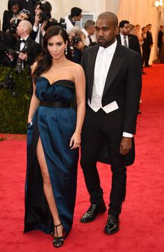 Pin for Later: Who Wore What: See Every Look on the Met Gala Red Carpet Kim Kardashian and Kanye West at the 2014 Met Gala Kim Kardashian paired her high-slit teal Lanvin gown with Lorraine Schwartz, and Kanye West, naturally.