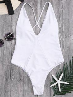 High Cut Cross Back Swimwear WHITE : One-Pieces S   ZAFUL