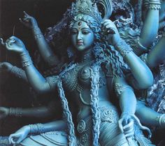In Hinduism, Durga or Maa Durga is a form of Devi, the supremely radiant goddess, depicted as having eight arms, riding a lion or a tiger, carrying weapons and a lotus flower, maintaining a meditative smile, and practicing mudras, or symbolic hand gestures.