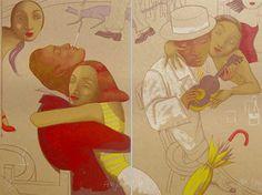 Parejas en el bar. de Ana Juan. Serigrafía editada por el taller de Manolo Gordillo