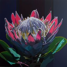 artist: PAUL BLOMKAMP 'King Protea..the true electric essence' 120 x 120cm acrylic on canvas