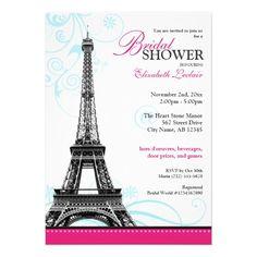 Mod Flourish Eiffel Tower Parisian Bridal Shower Custom Invitation