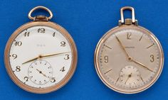 Two - Elgin & Longines 12 Size Pocket Watches Case: gold filled, 12 size, snap backs, Elgin has presentation - Available at Tuesday Internet Watch and. Pendant Watch, Pocket Watches, Snap Backs, Watch Case, Presentation, Plate, Jewels, Metal, Cover