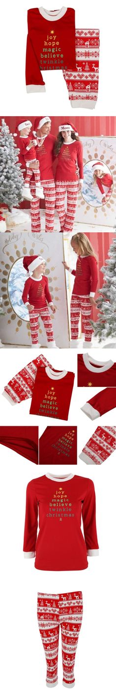 Lovely Christmas Dad&Mom-child suits Family Pajamas  Long sleeve Warm Red Letter Printing Pajamas Set