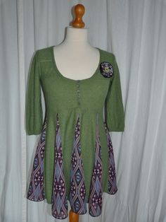 Up-cycled Swing Top From Cashmere and Merino Green Jumper Size 10-12 £25.00