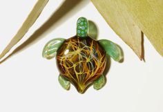Jungle Web Turtle - Glass Turtle Necklace  by CreativeFlowGlass at www.blownglassturtle.com