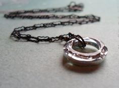 Circle Necklace Crystal Necklace Silver Pendant by puffluna, $23.00