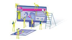 web design, illustration, vector, teamwork, design elements, icons, interface layout, desktop, tablet, user interface design