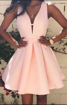 Pink Prom Dress , Pleated, Zipper, V-neck, Sleeveless,